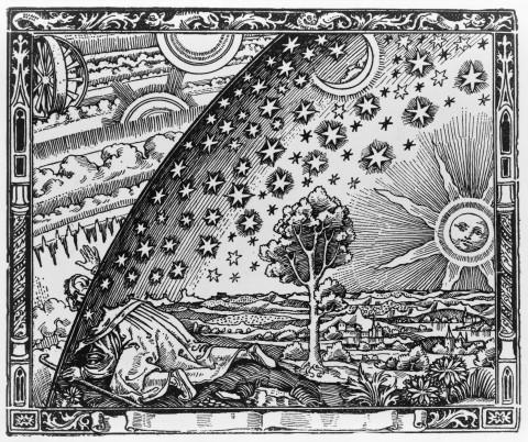 """Anonyme, """"Gravure sur bois de Flammarion"""" (titre attribué), date inconnue, gravure sur bois."""