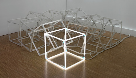 Jeppe Hein, Moving Neon Cube (Cube de néon en mouvement), 2004 - Vue d'ensemble