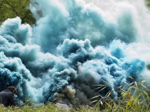 Hicham Berrada Celeste, 2014 Color photograph 40 x 50 cm Grey sky, sky blue smoke © ADAGP Hicham Berrada