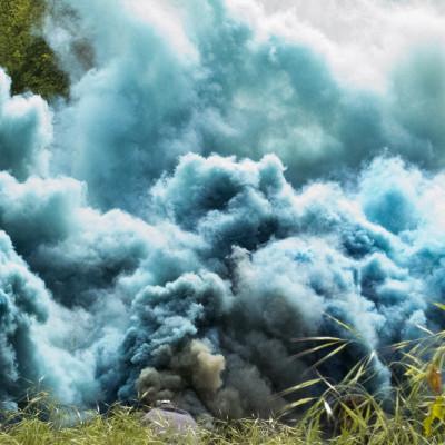 Hicham Berrada, Celeste, 2014 Color photograph 40 x 50 cm Grey sky, sky blue smoke © ADAGP Hicham Berrada